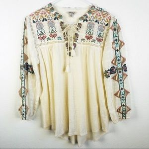 Lucky Brand | Ivory Embroidered Boho Tor Neck Top
